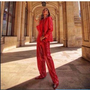 (Zara) Red Sequin Pants